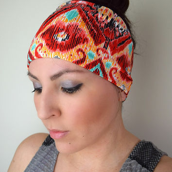 Stretchy Workout Headband, Tribal Spandex Headband, Running Headband, Aztec Headwrap