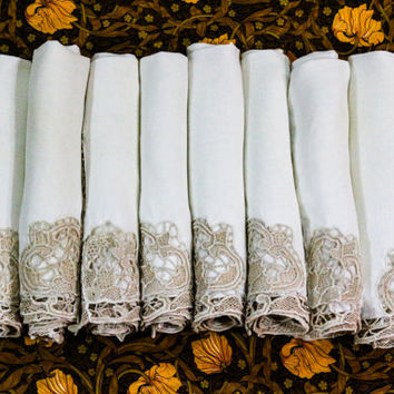 Eight Ivory Linen & Lace Napkins, Linen Dinner Napkins, Point de Venise Lace, Shabby Chic, French Country, Vintage