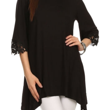 3/4 Sleeve Tunic Top W/ Crochet Lace Trim
