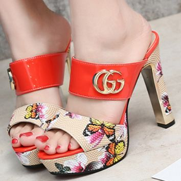 GUCCI summer new super high heel women's slippers platform with coarse sandals and slippers Red F0215-1