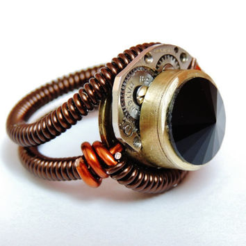 Bullet Casing ring cyberpunk  watch gear movement parts by keoops8