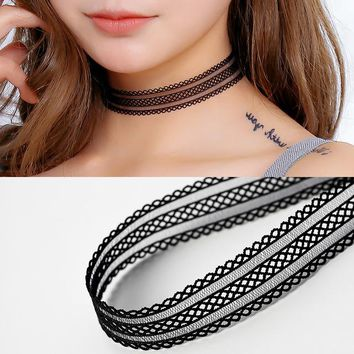 NK236 New European Gothic Tattoo Black Sexy Harajuku Punk Elastic Hollow Flower Lace Chokers Necklace for Women Jewelry Collar