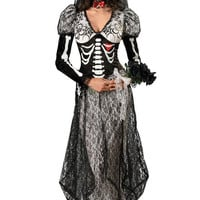 Long Black Skeleton Dress Adult Halloween Costume