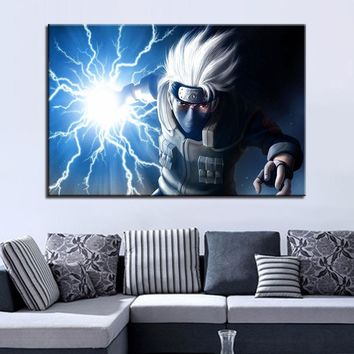 Naruto Sasauke ninja Wall Art Pictures HD Prints Framework 1 Piece/Pcs  Hatake Kakashi Paintings Living Room Decor Anime Cartoon Canvas Poster AT_81_8