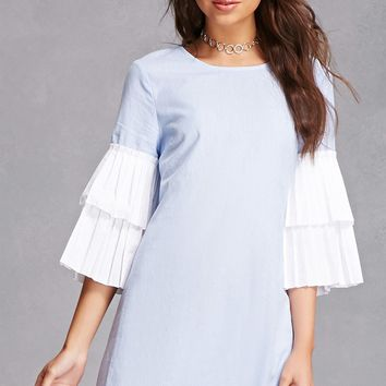 Pleated Tier-Cuff Shift Dress