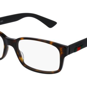 Gucci - GG0012O-002 Avana Black Eyeglasses / Demo  Lenses