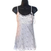 Polka Dot Tank Top in White With Lace Trim Bow Faux Pearl Adornment Womens Clothing Medium