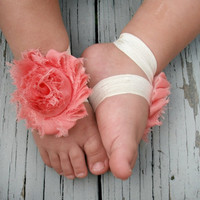 Baby Barefoot Sandals .. Peach Flowers with Ivory Elastic .. Toddler Sandals .. Newborn Sandals