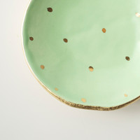 Mint and Gold Dot Dish by upintheairsomewhere on Etsy