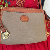 Taupe with Tan Trim Zip Top Over the Shoulder Dooney and Bourke Vintage Purse Authentic