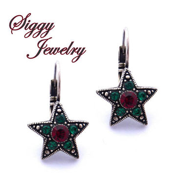Swarovski Crystal Multi Stone Star Shaped Earrings, Emerald Green and Siam Red, Christmas Holiday Jewelry, Stocking Stuffers, FREE SHIPPING