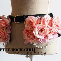 Rose Peplum Leather Belt with Pearl Strands
