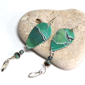 Polymer Clay Dangle Earrings w/ Picasso Czech Glass Beads, One Of A Kind Organic Jewelry, Green Marble, Gift For Her,  Lightweight Earrings
