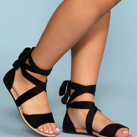 Devlyn Wrap Sandals - Black