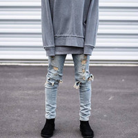 2016 Kanye West Represent Jeans Ripped Slp Distressed Jeans Black  Mens Skinny Fear Of God Pants Hip Hop Classic Designer