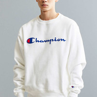 Champion Reverse Weave Long Script Crew Neck Sweatshirt - Urban Outfitters