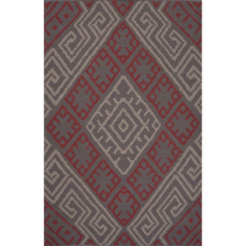 Flatweave Tribal Pattern Pink/Red Cotton Area Rug (2x3)