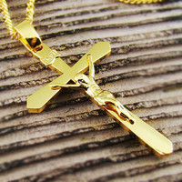High Quality 18k Gold Plated Mens Jesus Crucifix Cross Pendant Chain Necklace