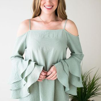 Unforgettable Tiered Ruffle Sleeve Tunic - Sage