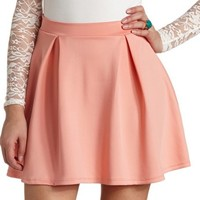 BOX-PLEATED HIGH-WAISTED SKATER SKIRT