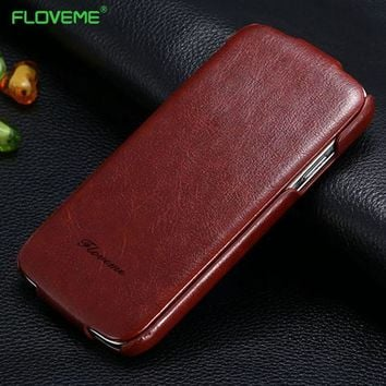 FLOVEME For iPhone 8 7 6 6s Plus 5S SE Case Certical Flip Leather Case For iPhone 6 6s 7 5 5S SE Magnetic Full Cover Pouch Case