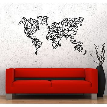 Wall Decal Abstract Map Geometric Shapes Geography Continents Countries Vinyl Sticker (ed1481)
