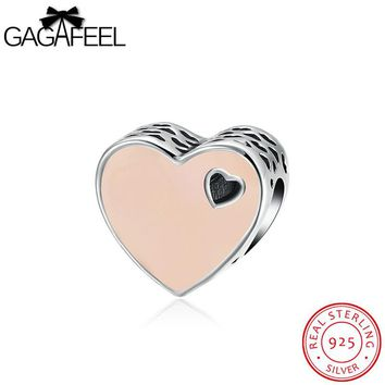 GAGAFEEL Original 925 Sterling Silver Heart Shape Love Beads Fit For Pandora Charms Bracelet Jewelry Oil Drip Pink/White Colors