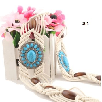Bohemian style ladies hand-woven wide waist rope metal wooden beads knot fringed decorative waist chain trend