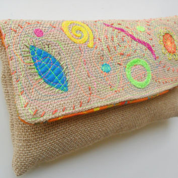 Zippered Diaper Clutch in Neon and Burlap