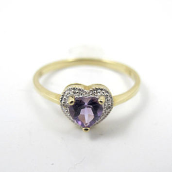 10K Amethyst Diamond Ring, Heart Shaped, Pave Diamond Halo, Yellow Gold Solitaire, Unique Engagement Ring, Size 7