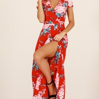 New Romance maxi dress in red floral Produced By SHOWPO