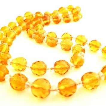 Czech Vintage Jewelry Yellow Amber Crystal Necklace