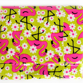 Duct Tape Wallet, Mini Accordion Bifold ~Flamingo. Girls wallet,Kids Wallet,Womens wallet,Small Wallet,Ladies wallet,Unique gifts,Coin Purse