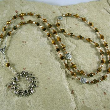 Apollo Prayer Bead Necklace in Tiger Eye: Greek God of Music and the Arts, Health and Healing