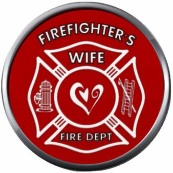 Red Heart Inside Maltese Cross Firefighter Wife Thin Red Line Courage Under Fire 18MM-20MM Snap Charm Jewelry New Item