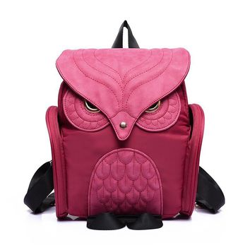 Cute Owl Anime Backpacks Backpack PU Leather For Women Ladies Men Men's Girl GIRLS CHILDREN Black Blue Purple Double Should Bag