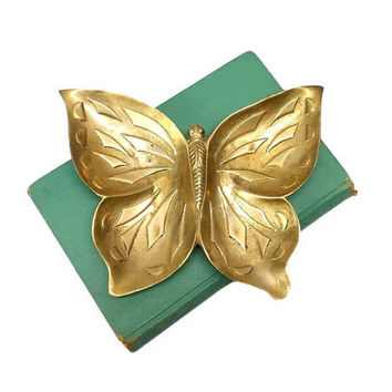 Brass Butterfly Dish Vintage Trinket Jewelry Ring Tray Holder Boho Loose Change Catchall Retro 70s Nature Decor Table Accent Ashtray