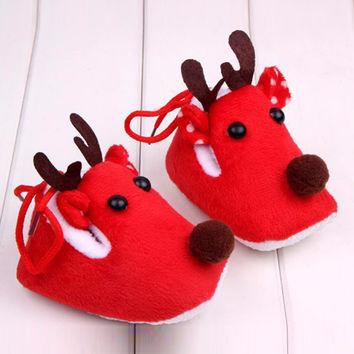 Christmas Kids Girl Deer Baby Shoes Sweet Xmas Toddlers Infant Winter Warm Ankle Boots