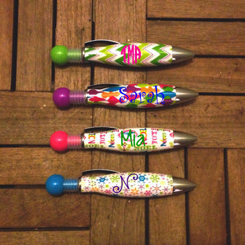 Monogrammed Christmas Pens, Monogrammed Holiday Pens, Monogrammed Stocking Stuffer, Monogrammed Chevron Pen