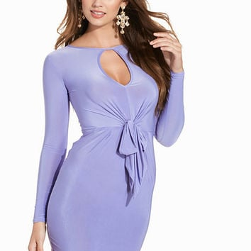 L/S Detailed Knot Tie Up Front Dress, Club L