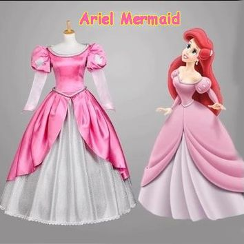 New Adult Women Custom Halloween Pink The Little Mermaid Princess Ariel Dress Cosplay Costume