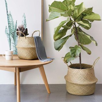 Foldable Natural Seagrass Woven Baskets - Flower Pot Planter