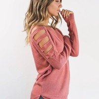 Make My Move Ash Rose Cold Shoulder Sweater
