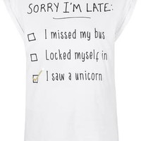 PETITE Sorry I'm Late T-Shirt - Multi