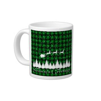 Santa's Christmas Sleigh Green Giant Coffee Mug