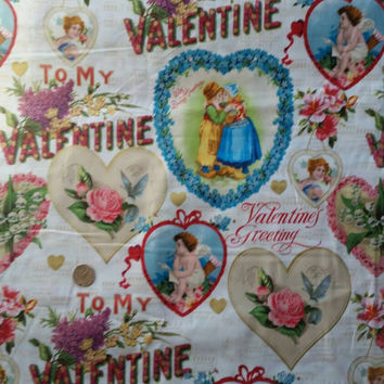 Valentine's Day fabric old fashioned greetings cupid floral flowers hearts cotton quilt print sewing project quilting material by the yard
