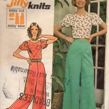 Simplicity 70s Sewing Pattern Extra Wide Leg Pants Bell Bottom Palazzo Hip Huggers Crop Top Blouse Shirt Ruffle Sleeves Bust 32