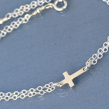 Silver Sideways Cross Bracelet, Sterling Silver, Small,Tiny,Petite,Off Centered Cross,Celebrity Inspired,Faith,Religious