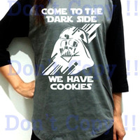 Darth Vader Cookie Funny Starwars Star Wars Unisex Men Women Dark Gray Long Sleeve Baseball Shirt Tshirt Jersey