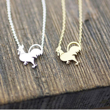 Rooster necklace, chicken rooster necklace, cute bird necklace, bird necklace, farmland necklace, farm animal necklace, chicken necklace